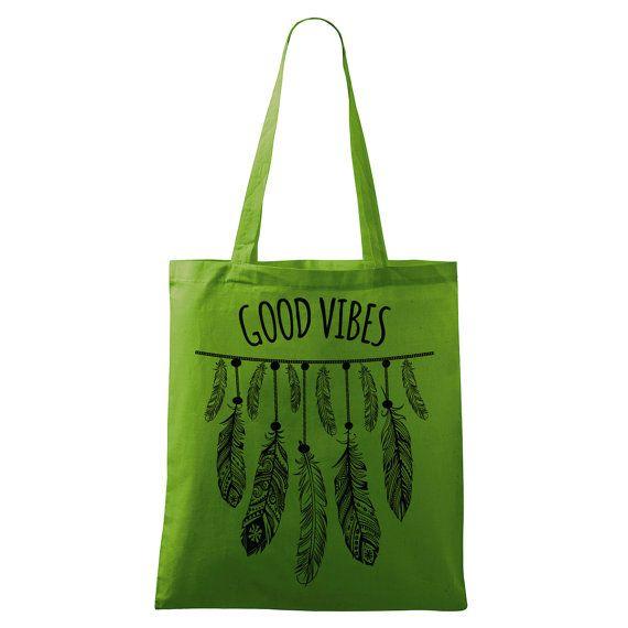 Good Vibes bag Yoga bag Eco-friendly printed in many by DrasiShop