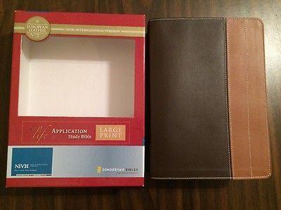 NIV 1984 Large Print Life Application Study Bible -  Chocolate European Leather