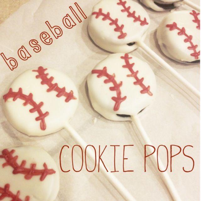 baseball cookie pops