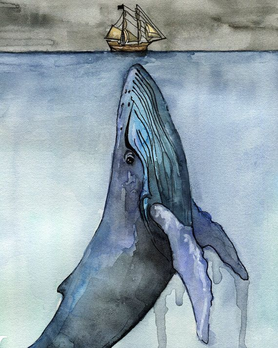 Watercolor Whale Painting Print titled by TheColorfulCatStudio