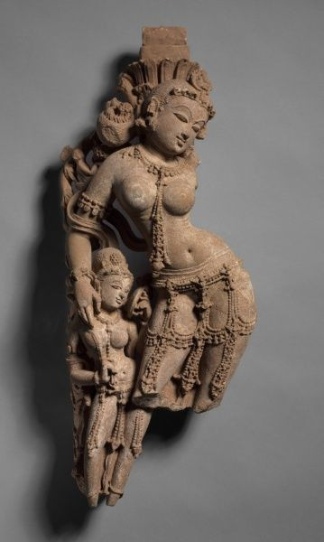 Female Tree-Diety with Attendant, c. 973 India, Rajasthan, from the Purana Mahadeva Temple, Harshagiri, Sikar, 10th century  stone