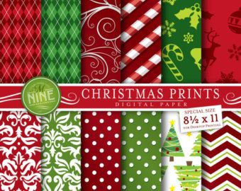 Digital Paper CHRISTMAS Pattern Prints Pack, Instant Download, 8 1/2 x 11 Holidays Patterns Backgrounds Print Chevron Pattern Red Green