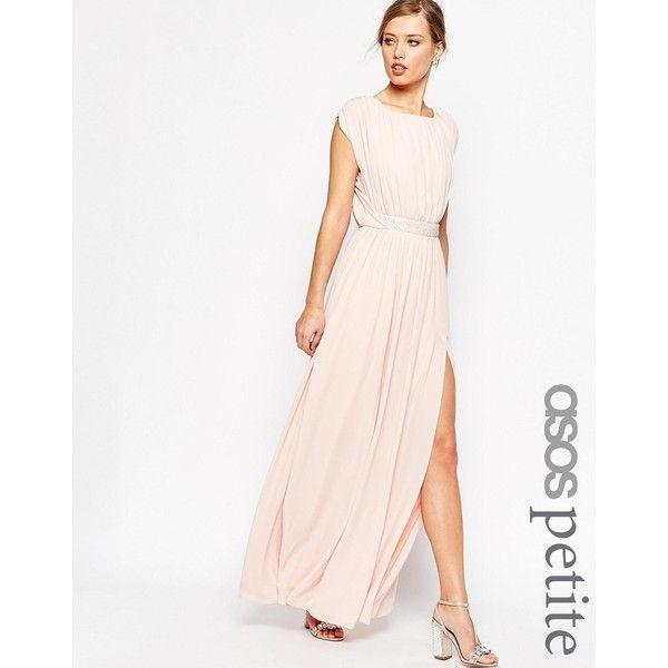 ASOS PETITE Embellished Waist Maxi Dress (£77) ❤ liked on Polyvore featuring dresses, petite, pink, square neck dress, asos dresses, nude dress, cap sleeve maxi dress and petite maxi dress