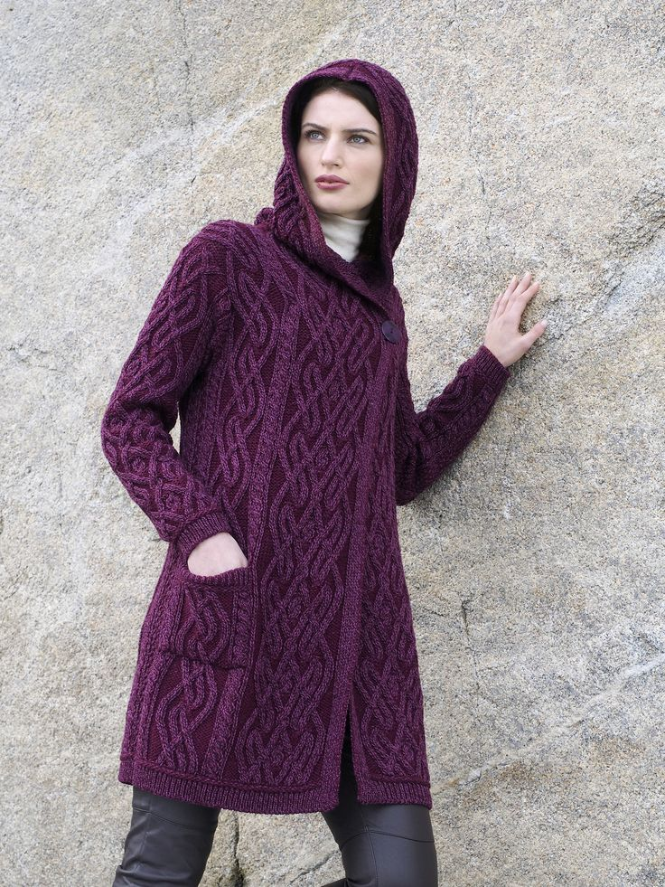 Ladies One Button Hooded Coat by Natallia Kulikouskaya for Aran Crafts of Ireland