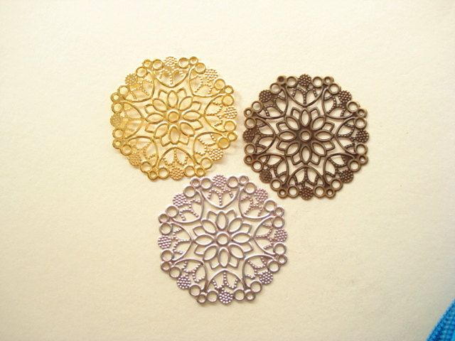 12pcs (3 Colours) Antiqued Silver Ornate - Bronze- Gold Plated Filigree Base Connecter (multi holes) 50mm B748(GBS) by yooounique on Etsy