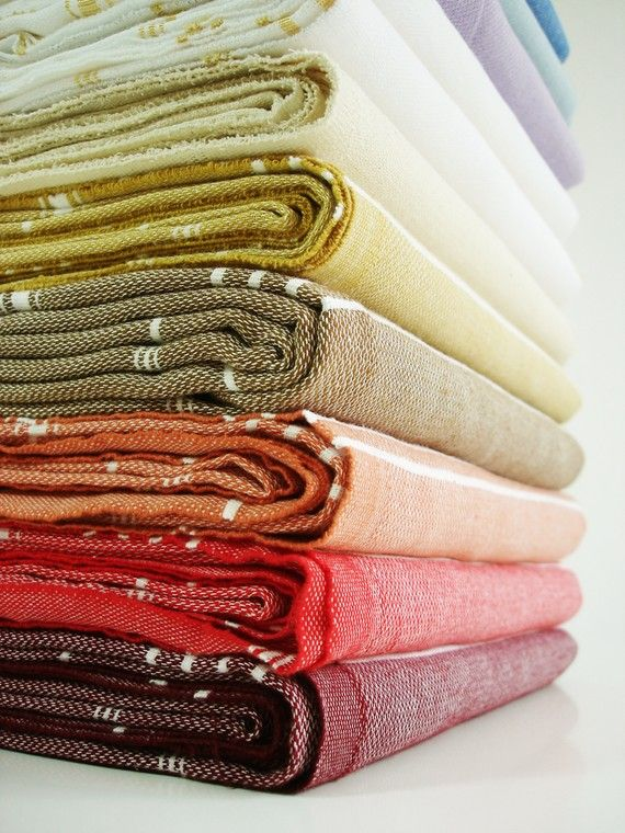 Turkish bath towels in lovely colors. Love Hamam towels, so practical for the gym/pool too (light, fold small, dry fast)