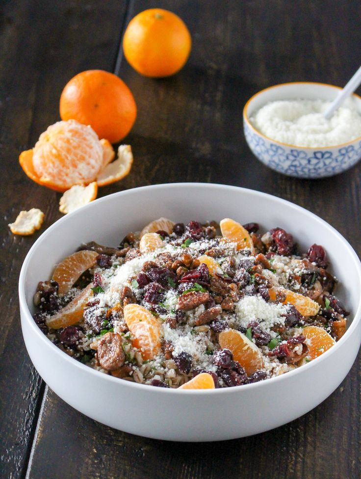 Farro Grain Bowls with Roasted Fruit & Feta Cheese | @yestoyolks.com