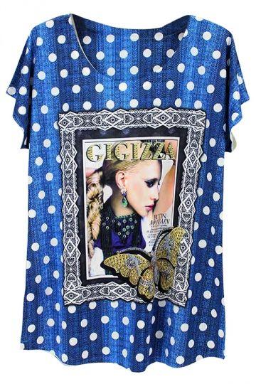 Blue Polka Dot Beauty Printed Batwing Sleeve Charming Ladies Tee Shirt - PINK QUEEN