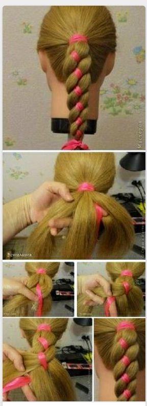 FOur Strand Ribbon Braid Ponytail
