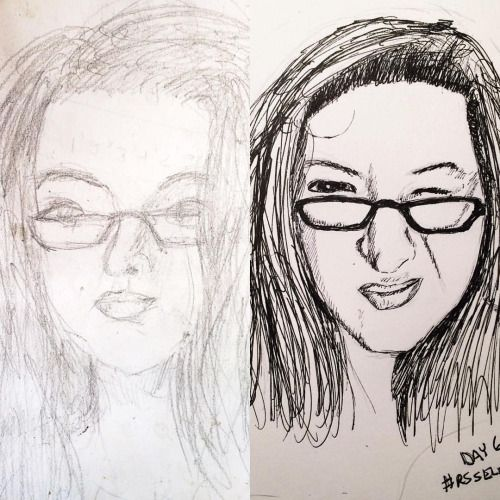 For #throwbackthursday I dug out a self-portrait that I did 2 years ago to compare it to one that I did for the selfie sketch workshop from a few months ago. I'm nowhere near where I want to be as an artist but sometimes it's cool to see how far the daily sketching has taken me.