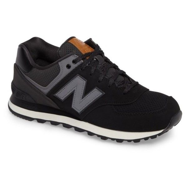Men's New Balance 574 Outdoor Sneaker ($80) ❤ liked on Polyvore featuring men's fashion, men's shoes, men's sneakers, black, mens retro sneakers, mens black sneakers, new balance mens shoes, mens retro shoes and mens shoes