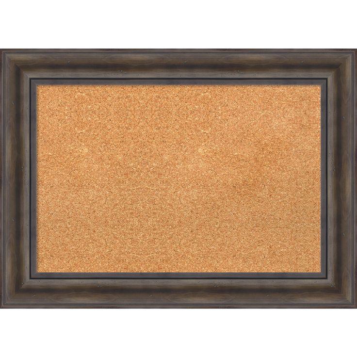 Amanti Art Framed Cork Board, Rustic Pine