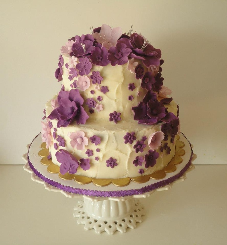 Cascading Purple Flowers Birthday Cake