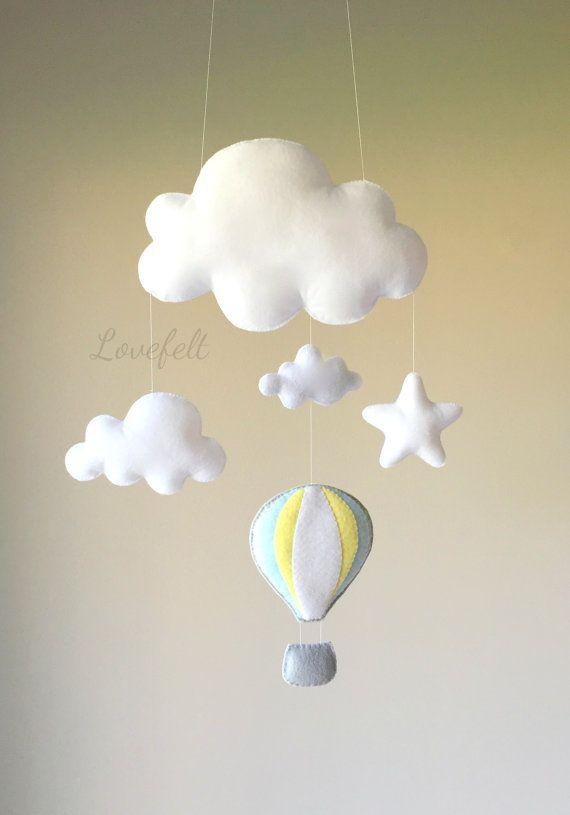 Baby mobile cloud mobile hot air balloon by lovefeltmobiles