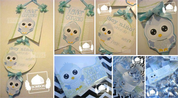 #buho #baby #maternidad #bebe #blue #azul #letrero #mint #menta #green #verde #banner #newborn #kisses #water #agua #label #bottle #botella #InvitacionesBombon https://www.facebook.com/InvitacionesBOMBONLANDIA?ref=hl