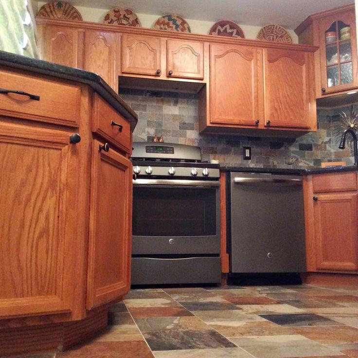 Oak Kitchen Black Floor: Porcelain Slate Tile Kitchen With GE Slate Appliances
