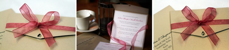 Pearlescent champagne card and a dash of dusky pink ribbon pocketfold wedding invite
