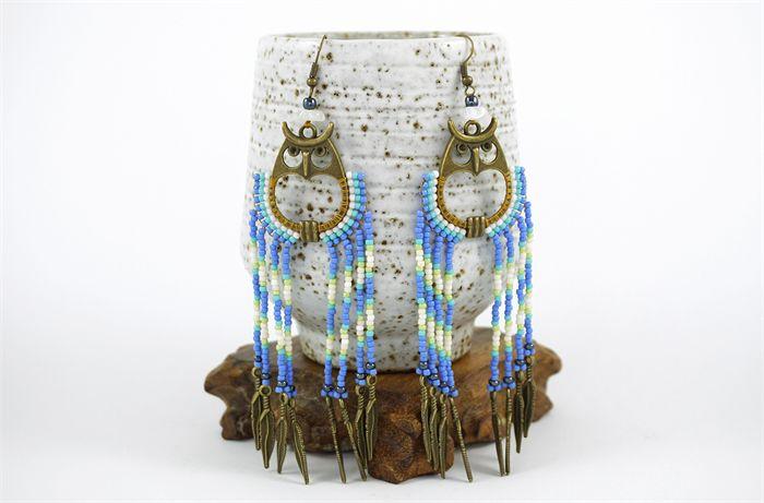 Native American Dangle Drop Long Beaded Earrings - Night Owl