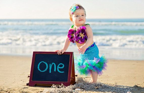 Mermaid Tutu, Little Mermaid, Mermaid Party, Mermaid Costume, Ocean Theme, Beach Theme, Beach Birthday, Photography Prop, Baby Bikini, OOC