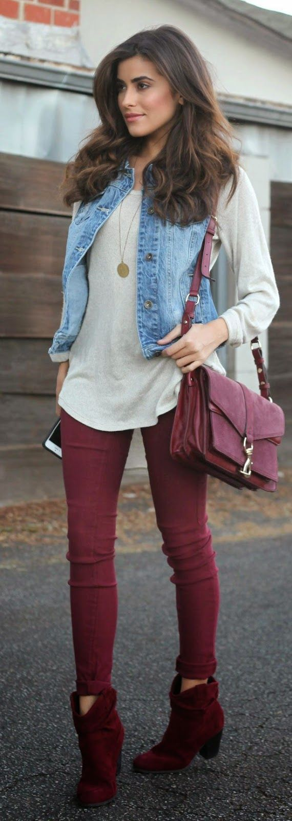 Fall Street Style Burgundy | About fashion | Burgundy skinny jeans, Burgundy pants, Vest outfits