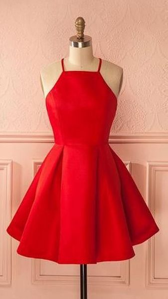 short red homecoming dress party dress, short red