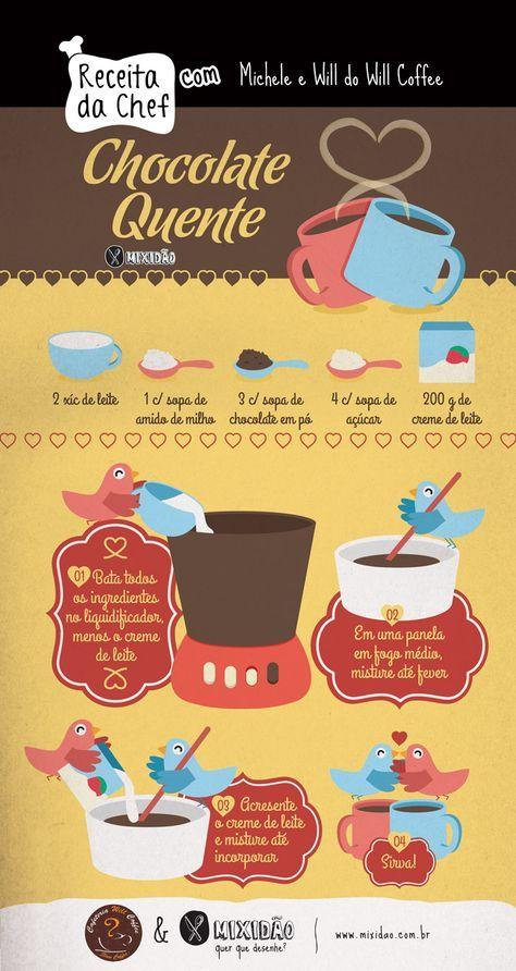 Receita ilustrada de chocolate quente, uma receita muito fácil e muito saborosa, para os dias de frio ou dia dos namorados. Ingredientes: Leite, chocolate em pó, açúcar, amido de milho e creme de leite.