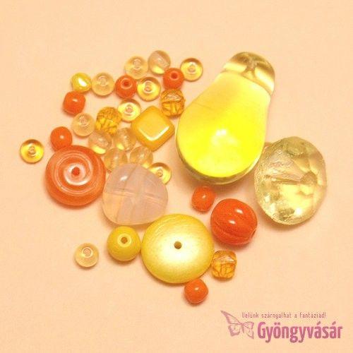 Napkelte - piros-sárga vegyes cseh gyöngy, 15 g • Gyöngyvásár.hu