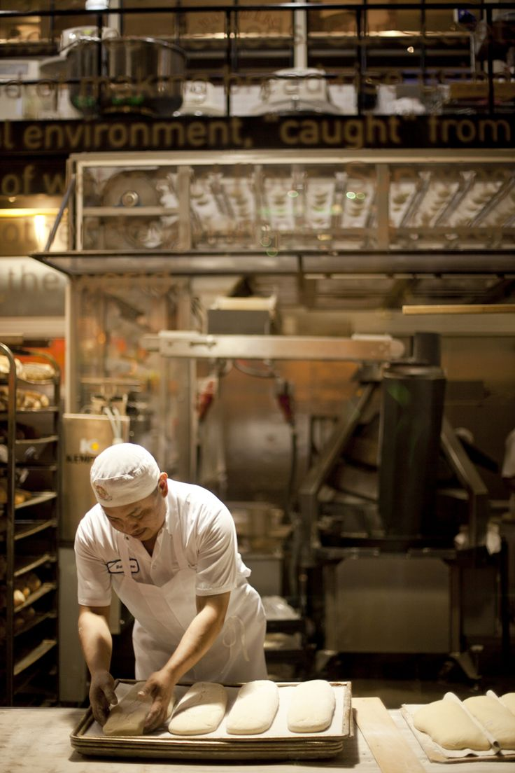 At the Boudin Bakery in San Francisco, you can watch them make their famous sourdough bread through the window.