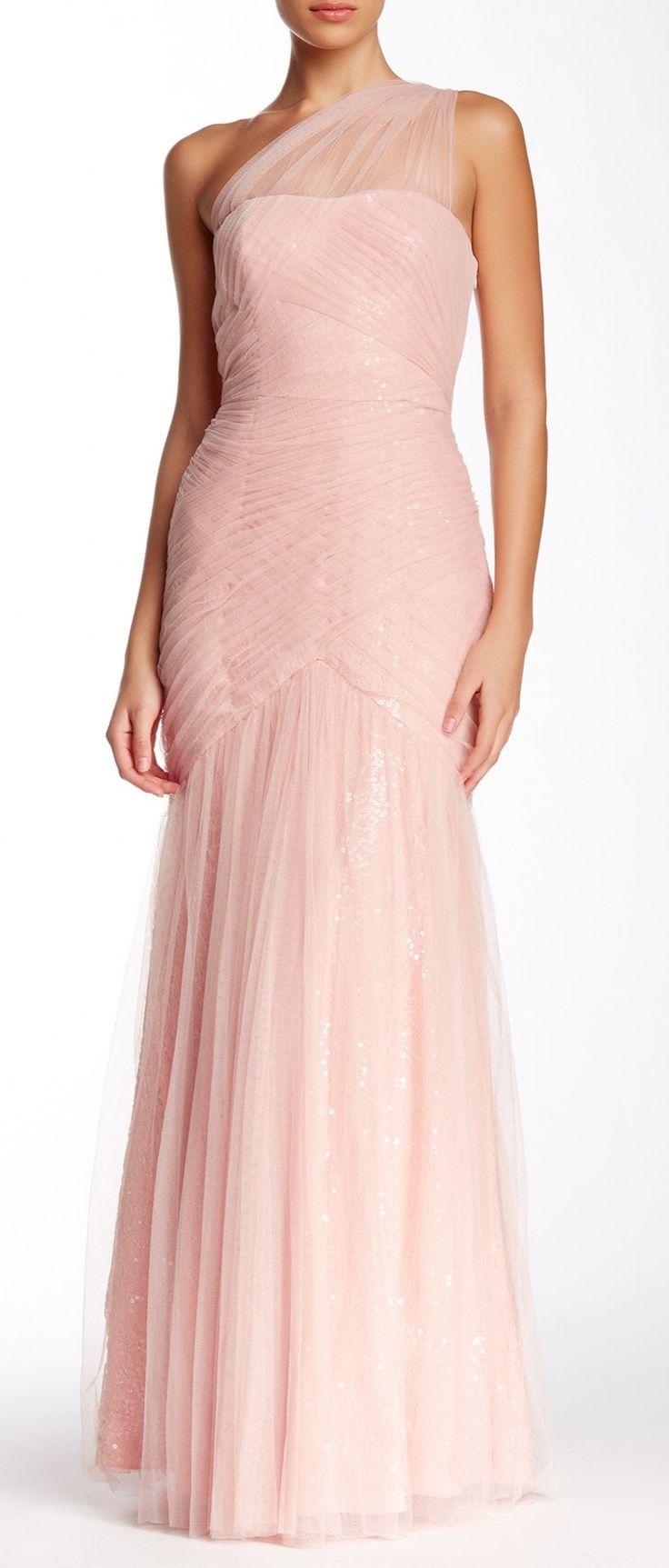 Beautiful monique lhuillier one shoulder ruched gown for Monique lhuillier bridal designers