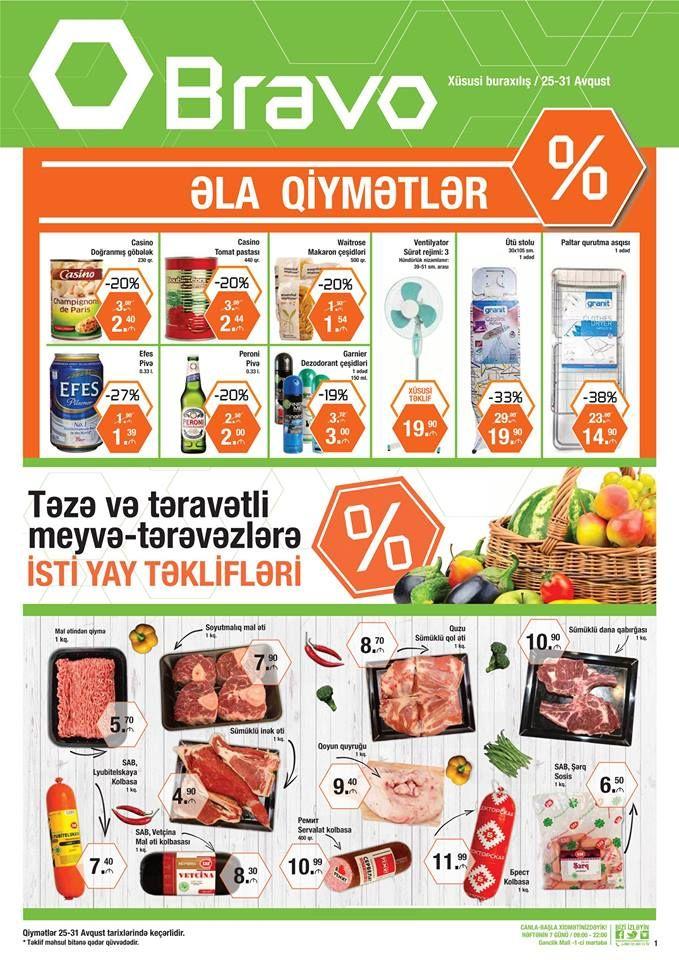 BU AVQUST BRAVO İLƏ SƏRİN KEÇƏCƏK! Yayın ən gözəl təkliflərindən xəbərdar olmaq üçün yeni Kataloqumuzu nəzərdən keçirin!  👉 http://bravosupermarket.az/#/leaflet THIS AUGUST WILL BE COOL WITH BRAVO!  For best summer deals please check out our new Leaflet! 👉 http://bravosupermarket.az/#/leaflet