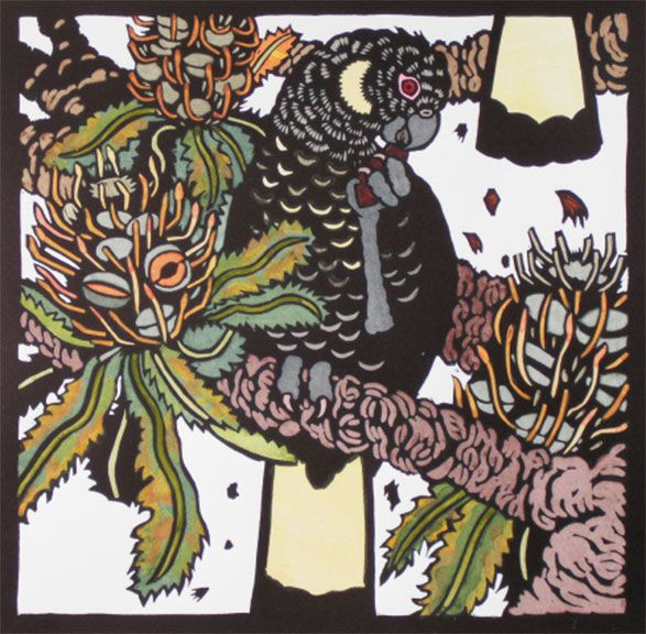 Black Cockatoos by Kit Hiller - printmaker - Tasmanian artist