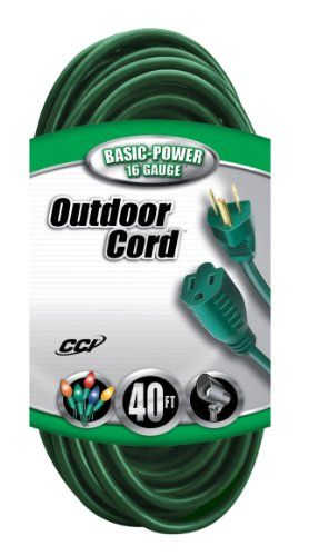 Coleman Cable 02356-05 40-Foot 16/3 Vinyl Landscape Outdoor Extension Cord, Green - The Coleman Cable 02356-05 16/3 40-Foot Vinyl Landscape Outdoor Extension Cord is a 3-conductor 16-gauge cord, is UL listed and meets OSHA requirements for outdoor use. The vinyl insulation resists oil, grease, moisture, abrasion and prolonged exposure to sunlight. Heavy duty molded-on plugs and ...