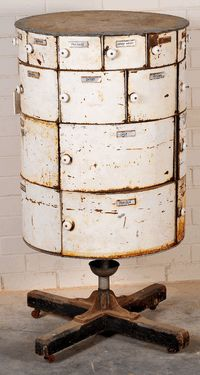 An Australian metal Depression era food pantry c1930, made out of tin drums and packing cases