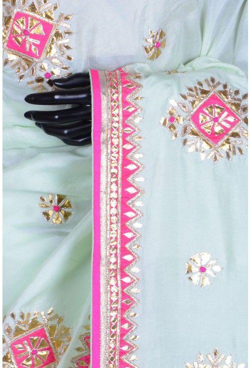 Pure Satin Embroidery-Pale Green-Gota Work-WG203070