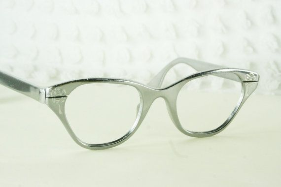 1950s cat eye glasses womens tura eyeglasses aluminum silver mirror finish metal etched flower horn rim 4522 optical frame horns cats and metals