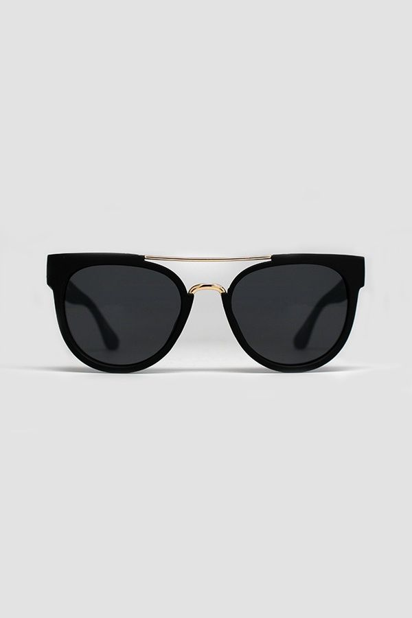 QUAY AUSTRALIA ODIN Black Gold Metal Detail Round Sunglasses