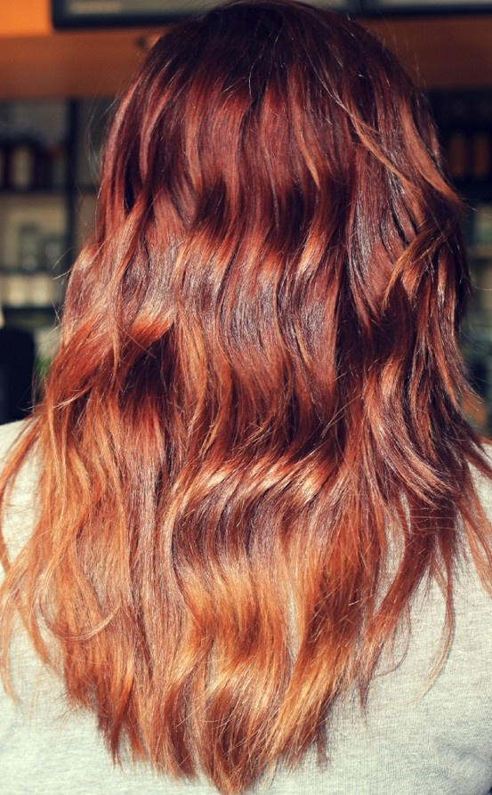 I like the ombre look,the dark color at the top is gorgeous.