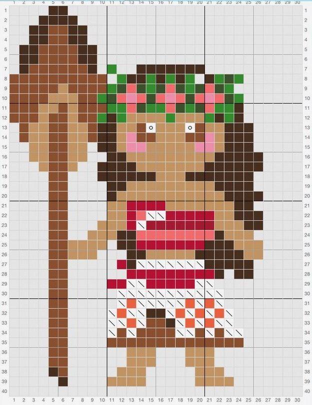 Moana cross stitch/peeler bead pattern Colors used: Dmc 838, 434, 3773, 604, 3706, 347, 221, 721, 702, 3345, white and ecru
