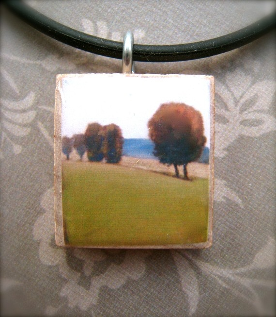 Little Tree Charm - Altered Reproduction PRINT on Scrabble tile