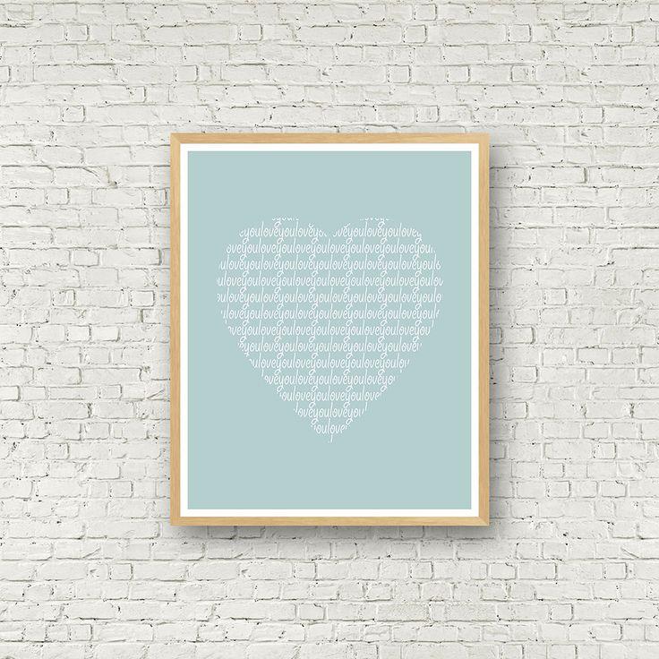 Love you coeur bleu, Love Wall Art, bleu et Blanc, décoration contemporaine, affiche scandinave, téléchargement instantané, affiche amour de la boutique MamzelleJules sur Etsy