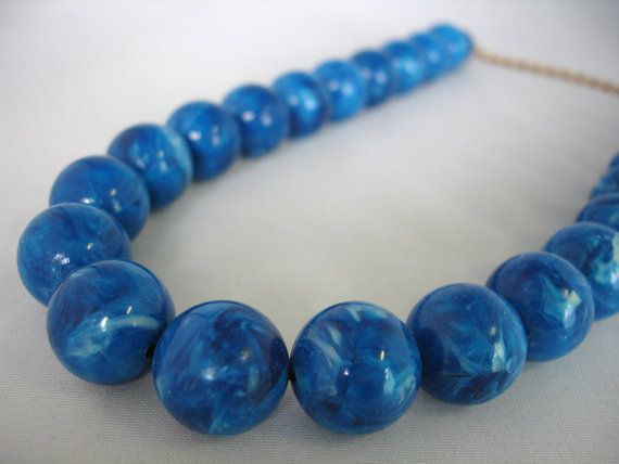 "Blue Beaded Necklace - Big Round Acrylic Beads - 16"" - Summer Necklace #design #necklace"