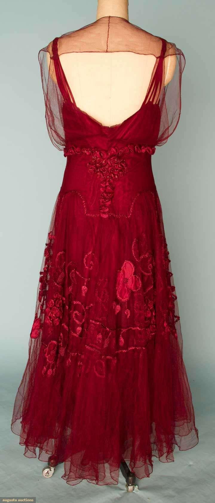 Augusta Auctions, November 14, 2012 NEW YORK CITY, Lot 173: Embroidered Garnet Silk Evening Gown, C. 1915