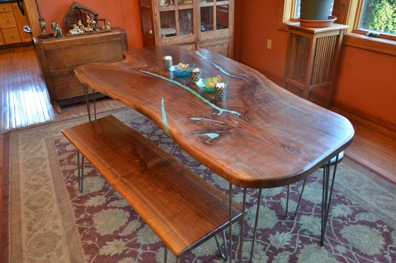 Black Walnut Slab Dining Room Table With Turquoise Inlay