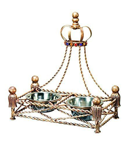 Luxury Iron GOLD CROWN Dog Cat Pet FEEDER Dish Bowl Jeweled Antique Victorian