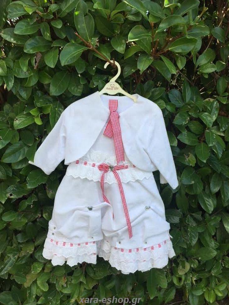 Βαπτιστικό Φόρεμα Λινό Bianco Colore 1280
