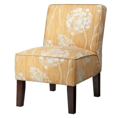 Armless Upholstered Slipper Chair  Butterscotch Floral