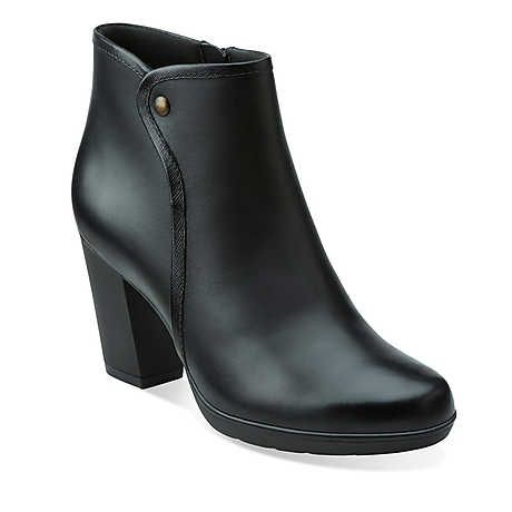 Halia Perch in Black Leather - Womens Boots from Clarks