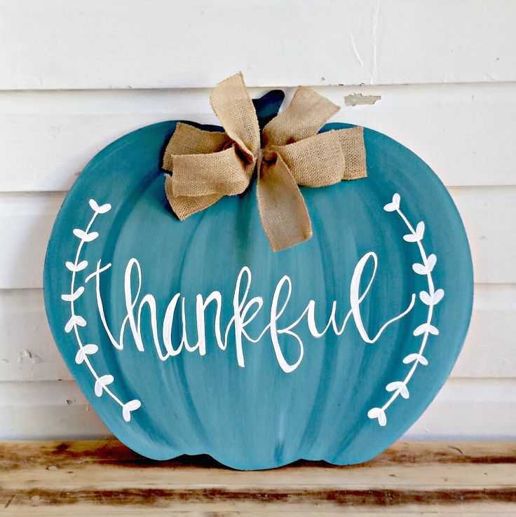 Thankful Sign | Fall Farmhouse Decor | Fall Wood Sign | Fall Pumpkin Decor | Pumpkin Door Hanger | Thanksgiving Wreath, Wooden Pumpkin Decor by HelloDorothyShop on Etsy https://www.etsy.com/listing/552049921/thankful-sign-fall-farmhouse-decor-fall