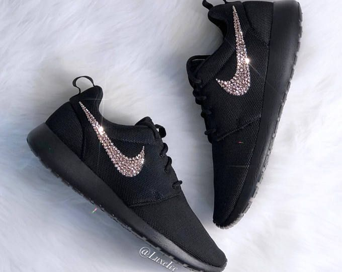 4934bb10bf9d Nike Roshe One Black White Metallic Platinum customized with