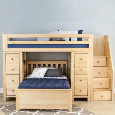 Harriet Bee Ayres Twin Standard Bed With Staircase Color Natual
